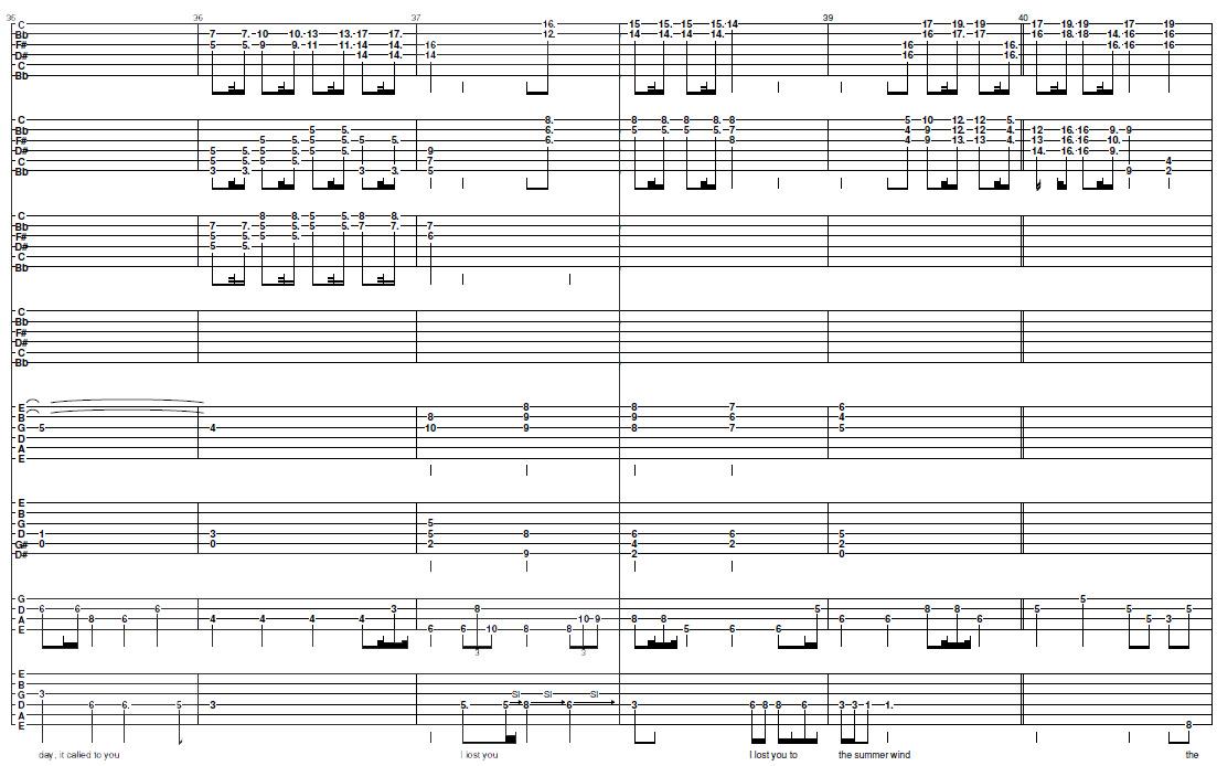 Summer Wind Sinatrariddle Guitar Tab
